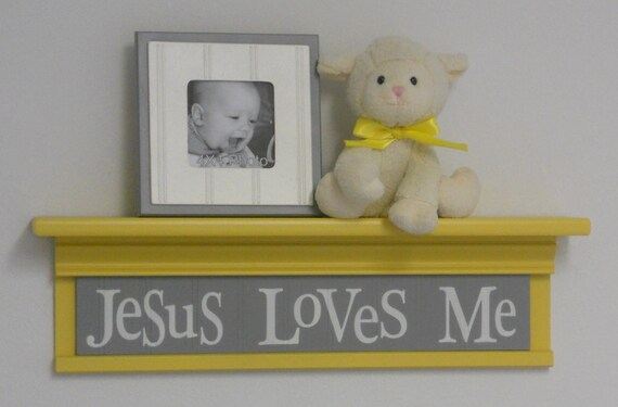 "Yellow Christian Wall Decor Art for Nursery - Jesus Loves Me on 24"" Shelf - Sign Yellow Grey Nursery Decor"