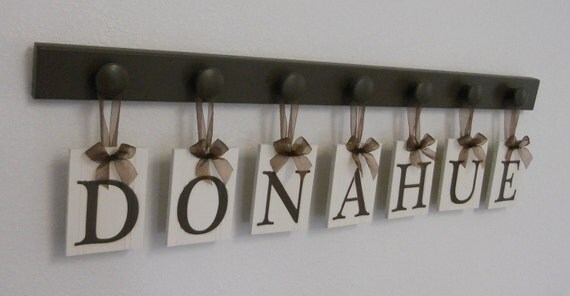 Personalized Family Name Sign for DONAHUE, Custom Last Names Wood Signs Anniversary Gifts Set Includes Brown 7 Peg Hooks