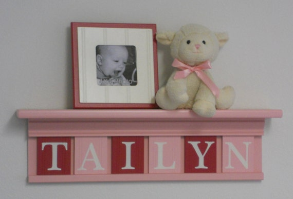 "Pastel Pink and Red Baby Nursery Decor 24"" Shelf  and Sign With 6 Wood Letter Blocks Personalized for TAILYN"