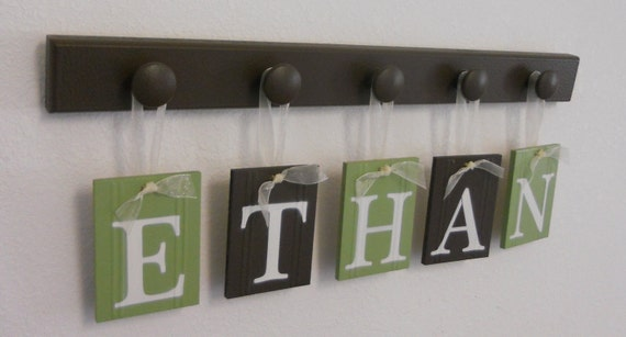 Nursery Decorations Wooden Letters. Set Includes 5 Hangers and Custom Baby Name ETHAN painted Light Green & Brown. Personalized Baby Gift