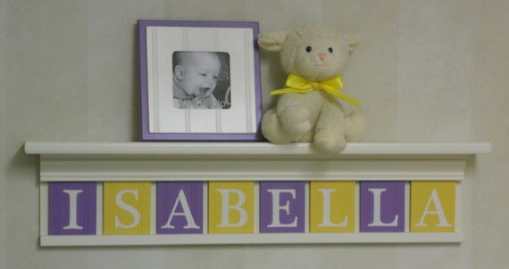 Purple And Yellow Baby Girl Name Sign Nursery Decor 30