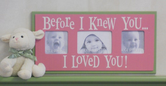 Pink and Green Baby Girl Nursery Decorations Wood Picture Frame Sign - BEFORE I KNEW YOU