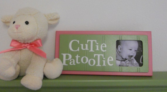 Pink and Green Nursery Art Photo Frame Sign Baby Girl Nursery Decor Gift - CUTIE PATOOTIE