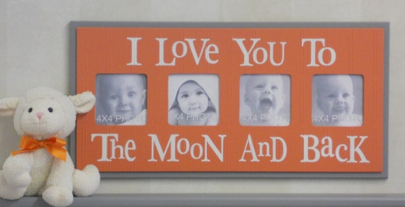 Orange Gray Nursery Decorating Ideas - I Love you to the Moon and Back - Tangerine and Grey Nursery Wall Art Baby Sign 4x4 Picture Frame