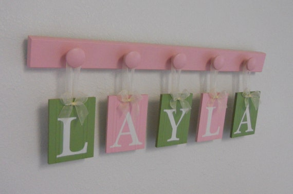 Baby Nursery Wooden Sign Includes Personalized Alphabet Wall Letters and 5 Pegs Light Green, Light Pink, Brown. Custom Order for LAYLA
