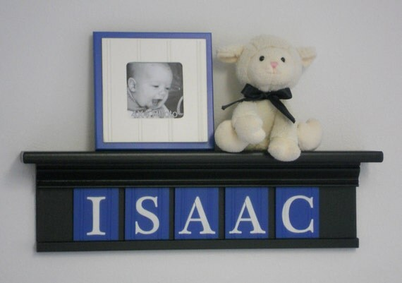 """Personalized Children Nursery Decor 24"""" Shelf With 5 Letter Wooden Tiles Painted Black and Blue - ISAAC"""