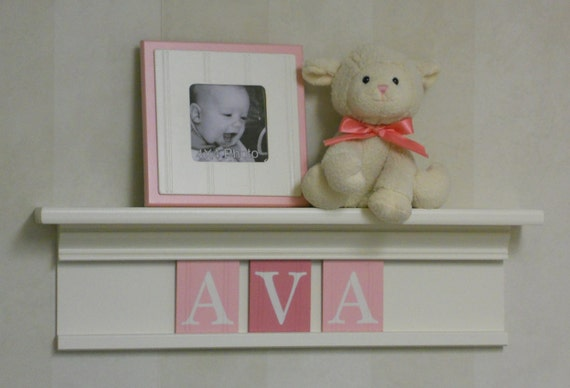 """Pink White Baby Shower Decorations - Baby Girl Nursery Decor - AVA - 24"""" Shelf with 3 Wooden Letters"""