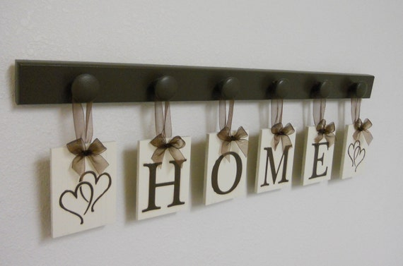 HOME with HEARTS Hanging Letter Sign Set Includes 6 Peg Wooden Hanger - Brown. Gift for Wedding, Bridal Shower and Anniversary