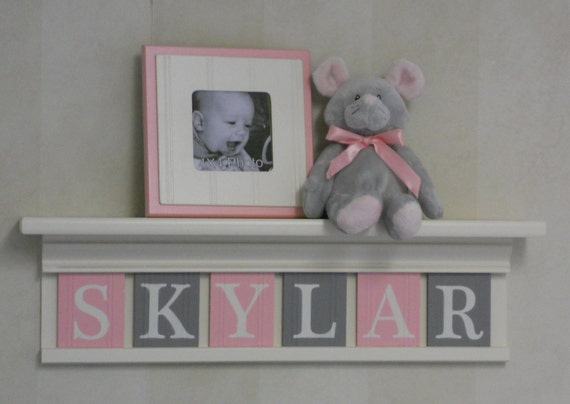 """Children Decor - Nursery Decor 24"""" Shelf with 6 Wooden Letters - Light Pink and Gray Personalized for SKYLAR"""