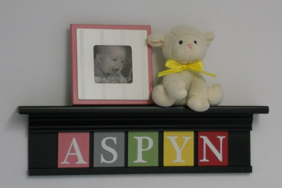 """Children Decor - Nursery Wall Decor 24"""" Black Shelf and 5 Wooden Letter Plaques in Pink, Gray, Green, Yellow and Red - ASPYN"""