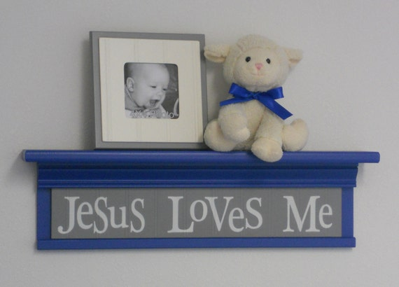 "Blue Gray Nursery Wall Decor 24"" Shelf Pastel Blue and Soft Gray Sign - Jesus Loves Me"
