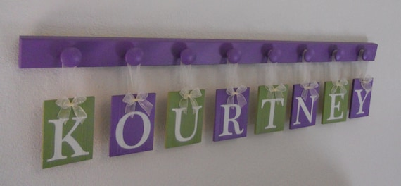 Purple and Green Baby Name Wall Hanging Sign Set Includes 8 Wooden Peg Lilac Custom Hanging Letters KOURTNEY