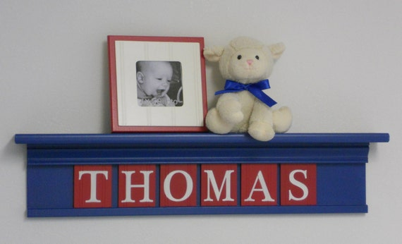 """Red Blue Nursery Art Children Name Nursery Decor 30"""" Shelf Sign 6 Wooden Letters Personalized for THOMAS"""