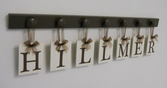 Wedding Gift - Gifts for Wedding Couple - Personalized Wall Decor for HILLMER - Brown Wood 7 Peg Hanger - Unique Bride and Groom Gift