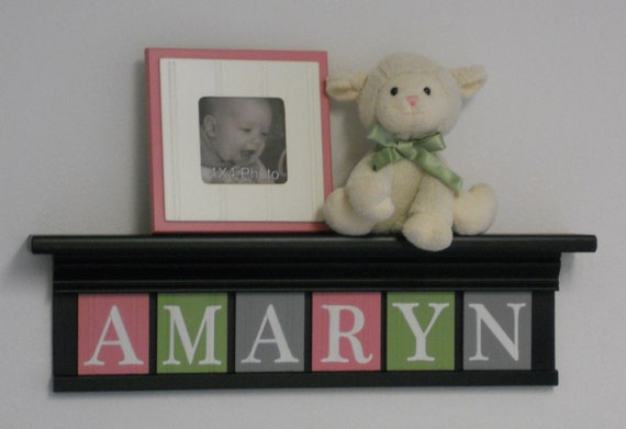 "Pink Green and Gray - Baby Girl Nursery Decor - AMARYN - 24"" Shelf Black with 6 Wooden Letters"