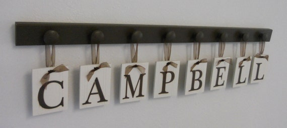 Kids Alphabet Nursery Letters Set Includes 8 Wooden Hangers and Name CAMPBELL Painted Chocolate Brown Baby Boys Room Wall Decor