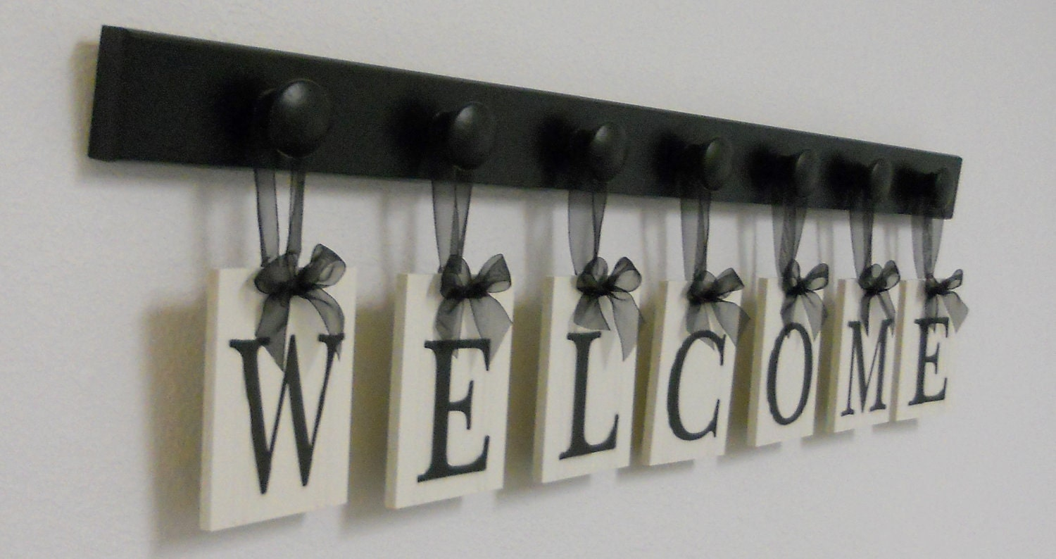 WELCOME Sign Home Wall Decor Hanging Wood Letters Wooden