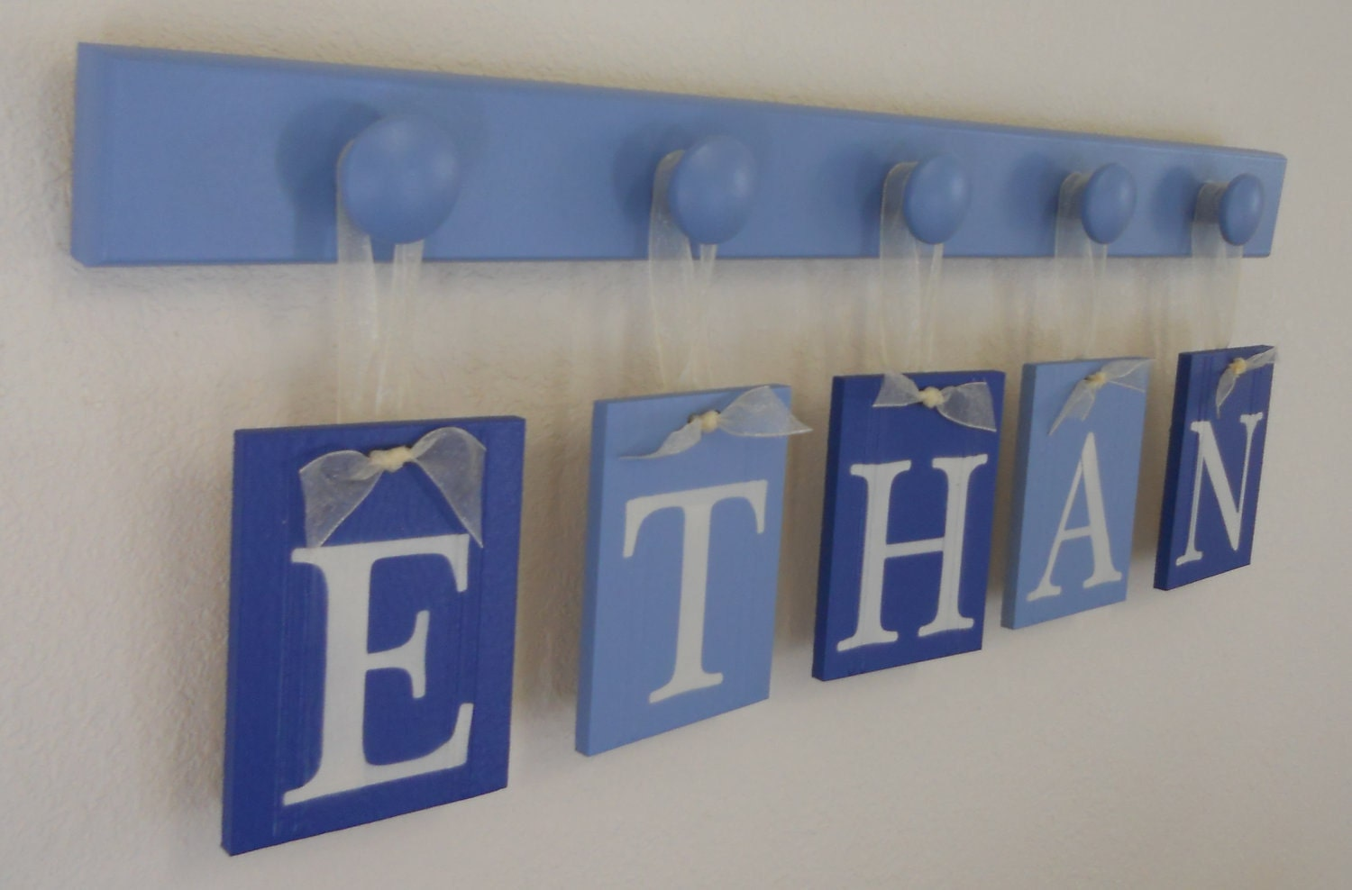Baby boy nursery decor name sign set includes personalized for Baby name nursery decoration