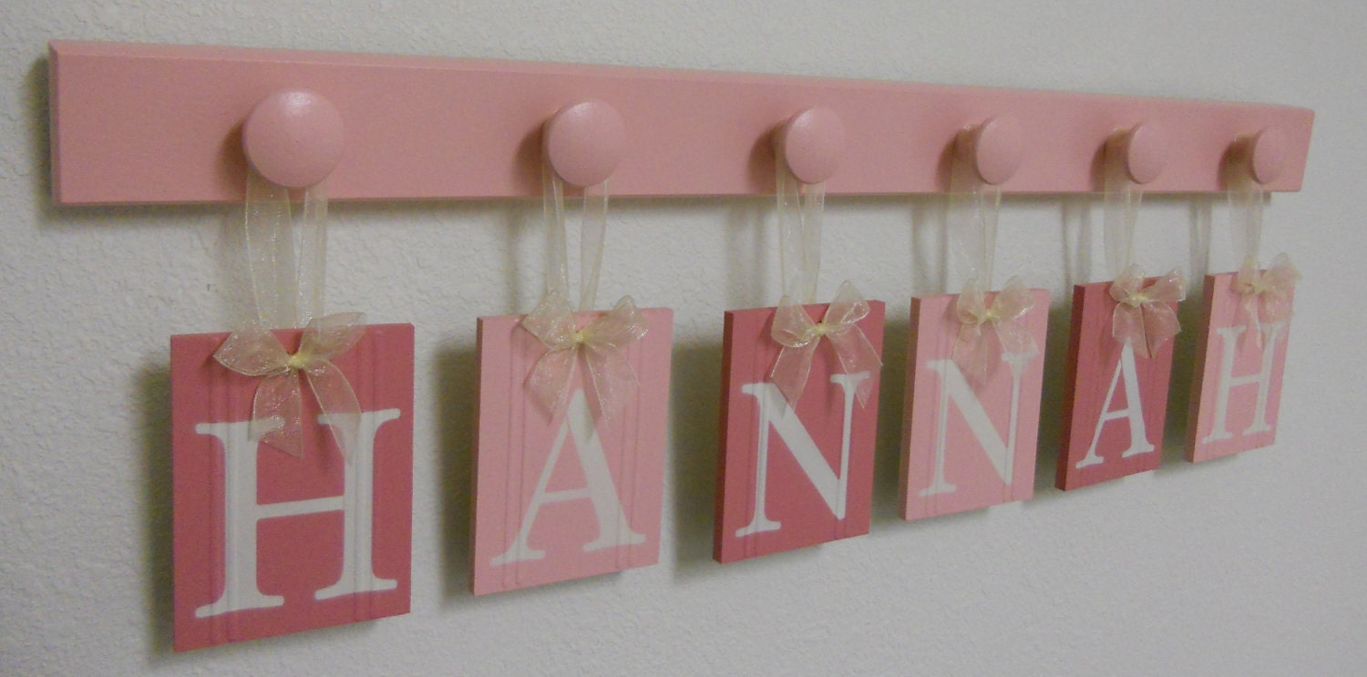 Name wall hanging baby room decorations hung ribbon wall for Wall letters kids room