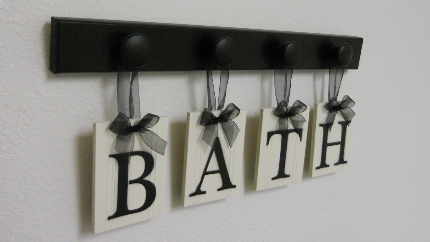 Bath Sign Personalized Handmade Hanging Letters Set Includes Wooden Hooks And Letters Painted Black Restroom
