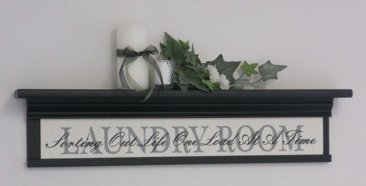 Laundry room wall decor art 30 shelf black with by for Room decor etsy