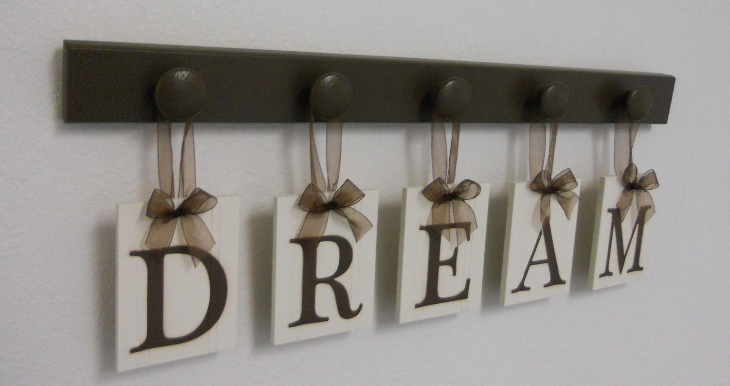 Dream sign wall decor hanging wall letter sign by nelsonsgifts - Wall hangings for bedroom ...