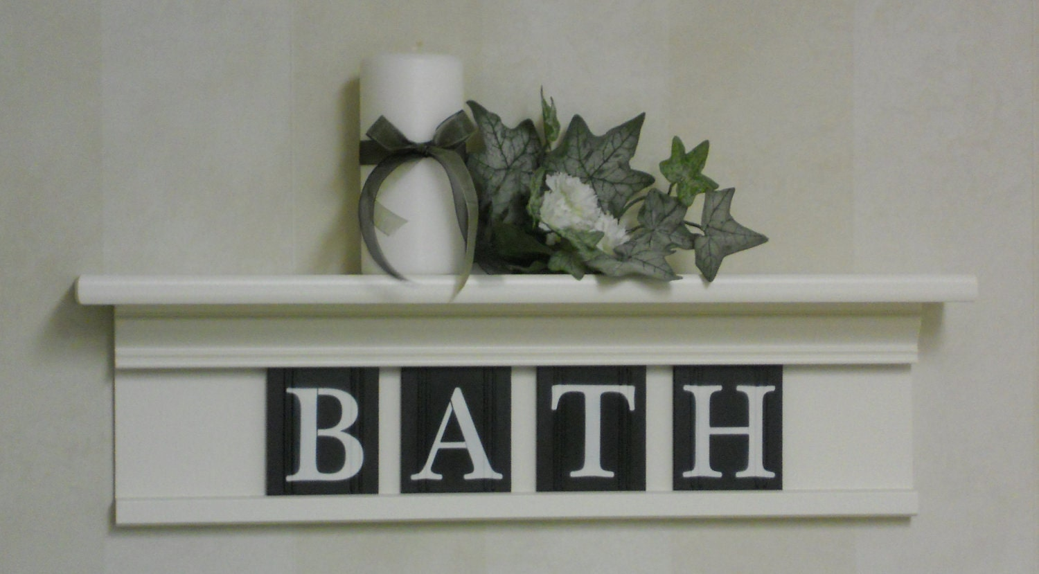 White Wall Decor For Bathroom : Bathroom wall shelf home decor off white and black or