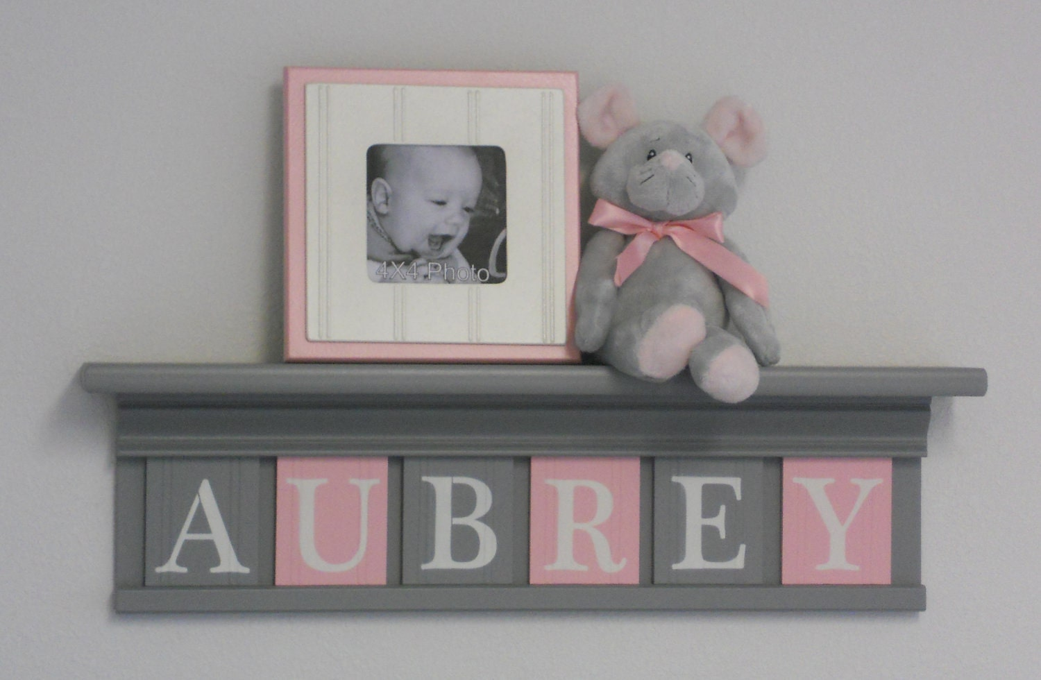Gray and pink pastel light pink baby girl nursery decor for Baby room decoration letters