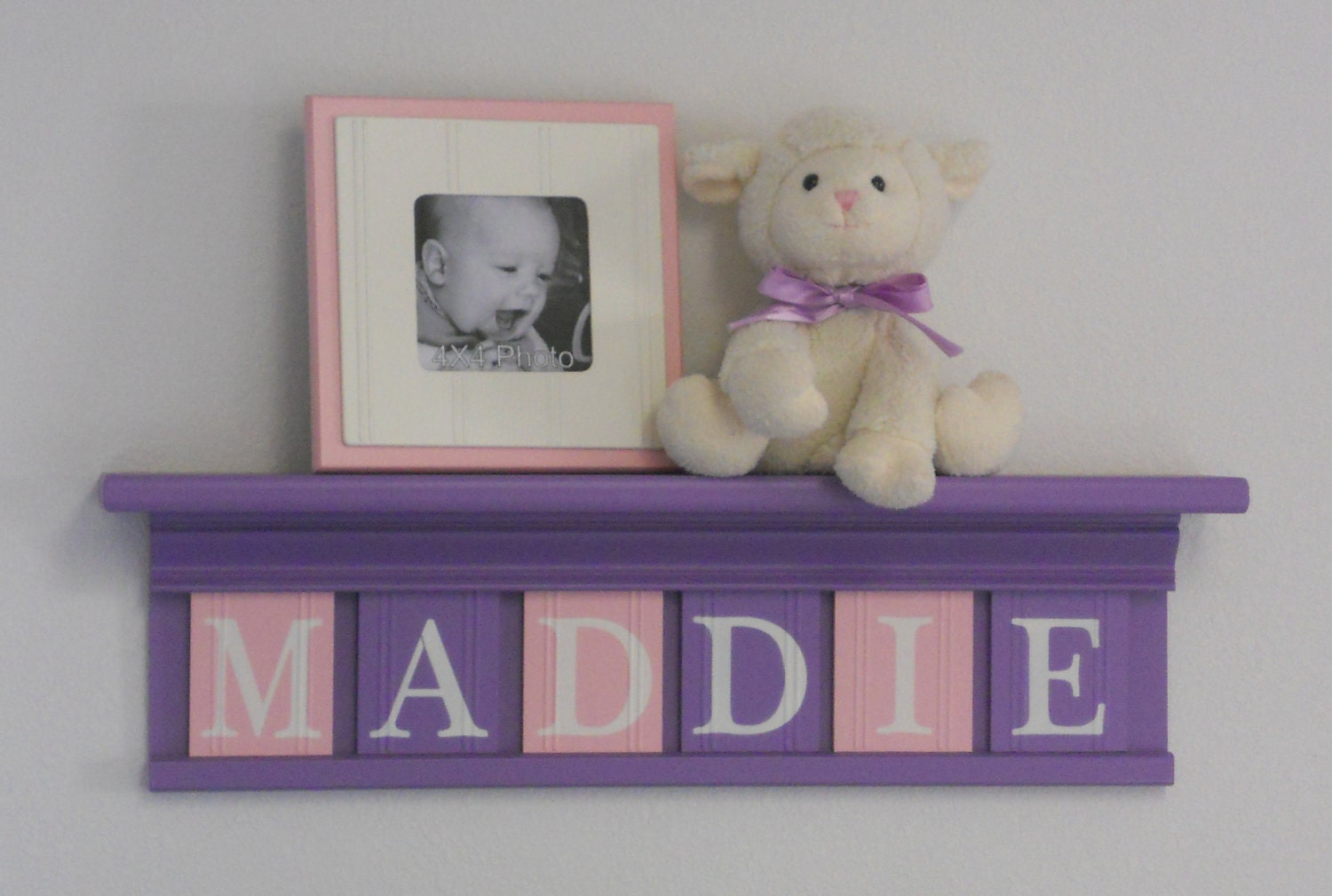 Purple pink nursery decor baby girl nursery wall art shelf for Baby name decoration ideas