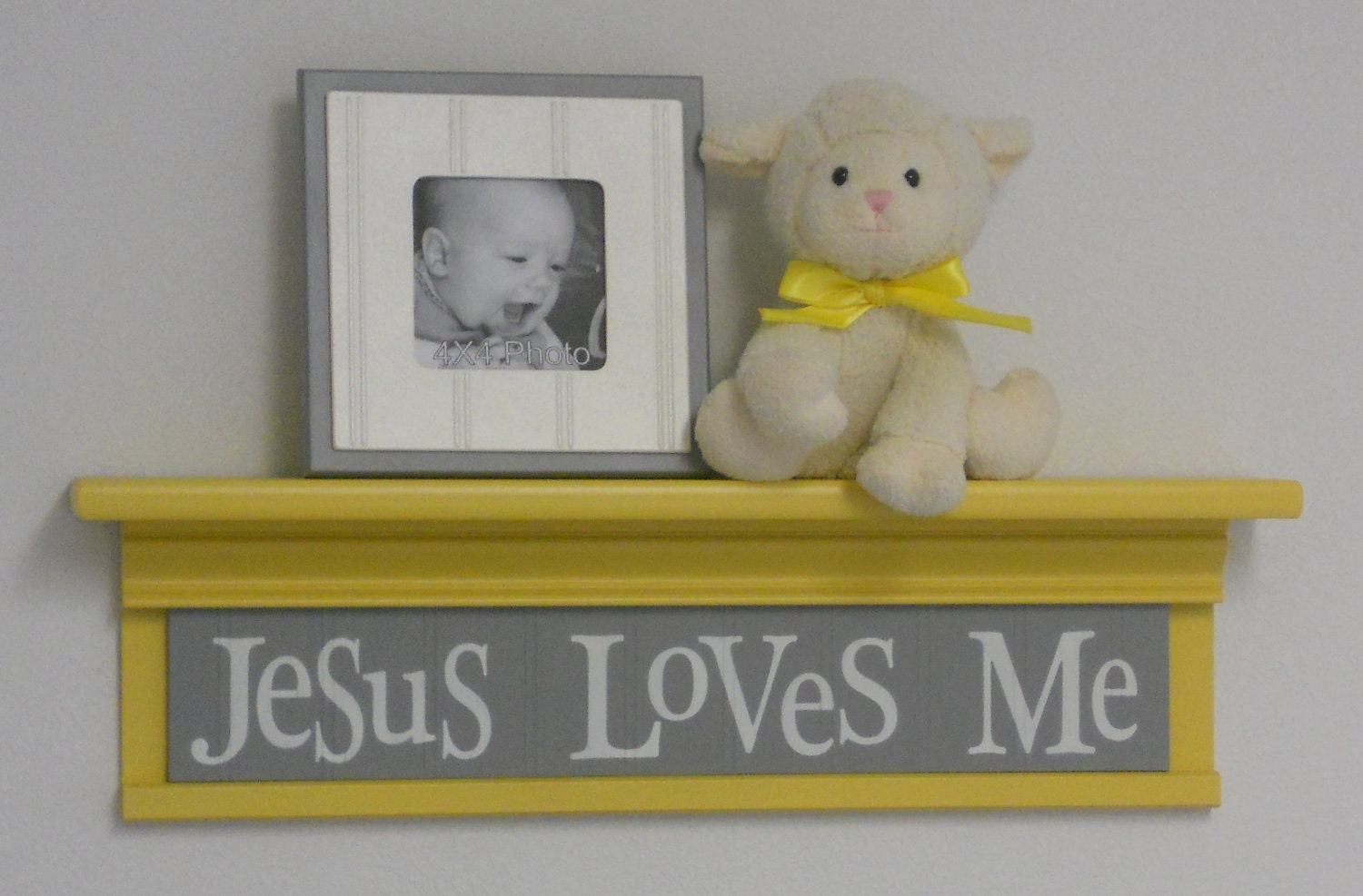 Christian Wall Decor For Nursery : Yellow christian wall decor art for nursery jesus by