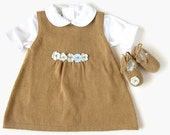 Knitted dress, coat and shoes set for baby girl, in camel and blue, lovely for a baby shower