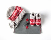 Knitted baby cap and socks with jacquard Gray/Red. 100%merino wool. READY TO SHIP size newborn