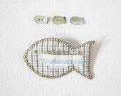 Blue fish brooch for Mum