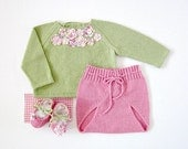 A knitted sweater with diaper cover - a sweet pink and green flowers