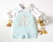 A knitted blue overalls with fishes and little shoes. 100% cotton. Newborn. Item unique.