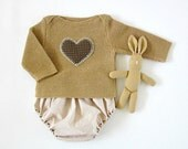 A knitted sweater with diaper cover in camel with a heart - OOAK