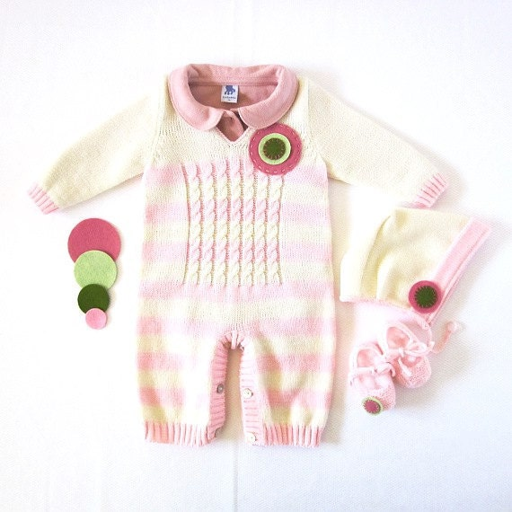 Sweet romper on stripes and cables with felt circles