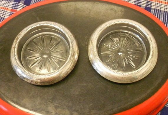 Sterling Silver and Glass Coasters by Frank M. Whiting & Co.