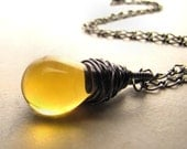 Yellow Necklace Glass Drop Sunburst Sunshine Ray of Sun Gold Yellow Glass Pendant Gunmetal Wire Wrapped Necklace BellinaCreations