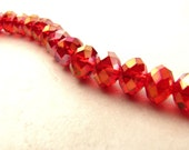 Red Crystal Beads Rondelle Beads Faceted Crystal Destash 33 ct 10x8 BellinaCreations Bellina Creation