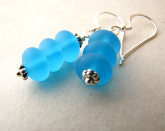 Sea Glass Earrings, Seaglass Earrings, Beach Jewelry, Aqua Seaglass, Seaglass Jewelry, Ocean Earrings, Beach Earrings