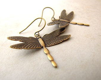 Dragonfly Earrings, Brass Earrings, Dragonfly Jewelry, Dragonfly Charm, Insect Earrings