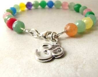 Ohm Bracelet, Meditation Bracelet, Yoga Bracelet, Prayer Bracelet, Jade Bracelet, Gemstone Bracelet