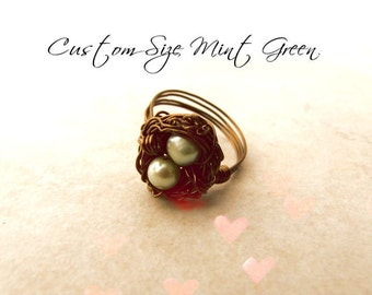 Birds Nest Ring, Hummingbird Nest Ring, Custom Birds Nest, Bird Lovers, Gifts for Mothers, Pearl Ring, Newborn, New Baby