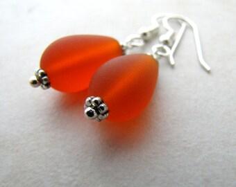 Sea Glass Seaglass Earrings Red Orange BellinaCreations Bellina Creation
