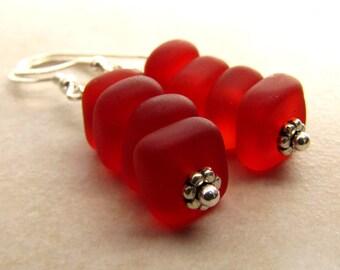 Red Sea Glass Seaglass Earrings Orange Fire BellinaCreations Bellina Creation