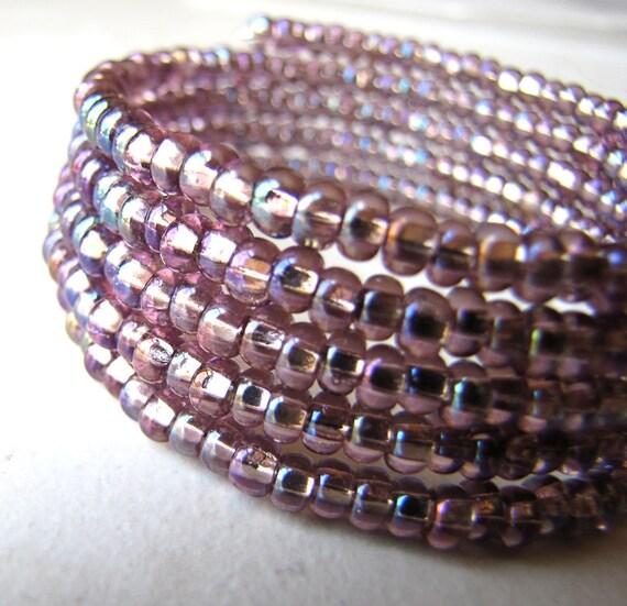 Pink Purple Memory Wire Bracelet Czech Glass Beaded BellinaCreations Bellina Creation