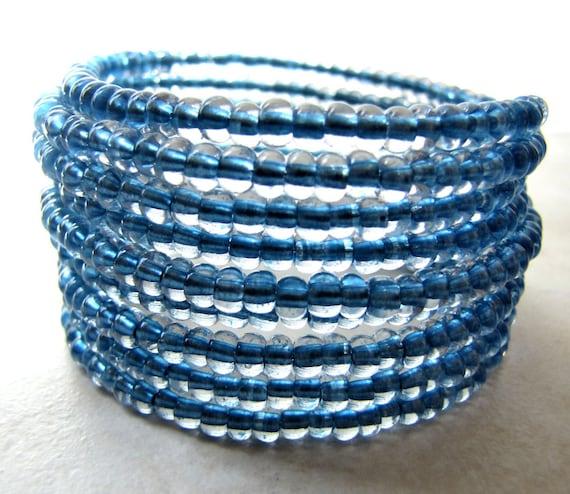 Blue Bracelet Beaded Memory Wire Bracelet Light Blue Periwinkle Sky Blue Czech Glass BellinaCreations Bellina Creation