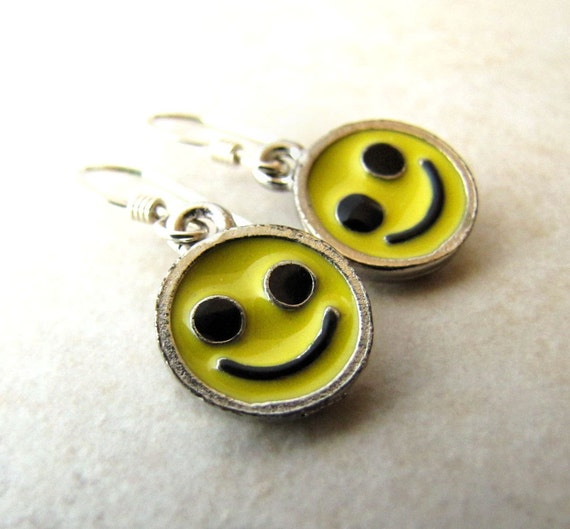 Smiley Face Earrings Smile Yellow Charm Sun Happy Joy Pewter Sterling Silver Girls Childs Earrings BellinaCreations Bellina Creation