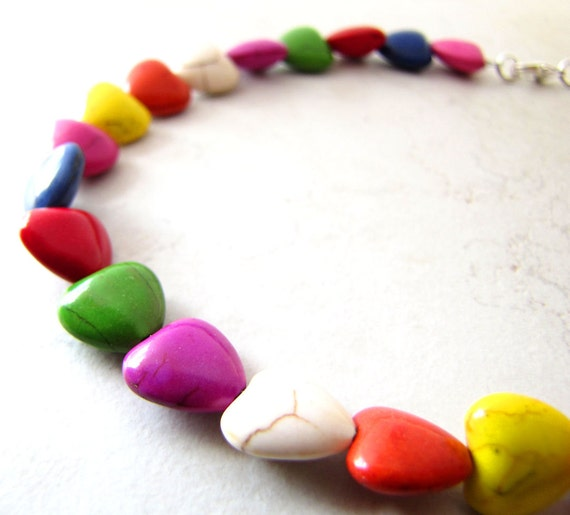 Rainbow Heart Necklace Dyed Turquoise Gemstone BellinaCreations Bellina Creation